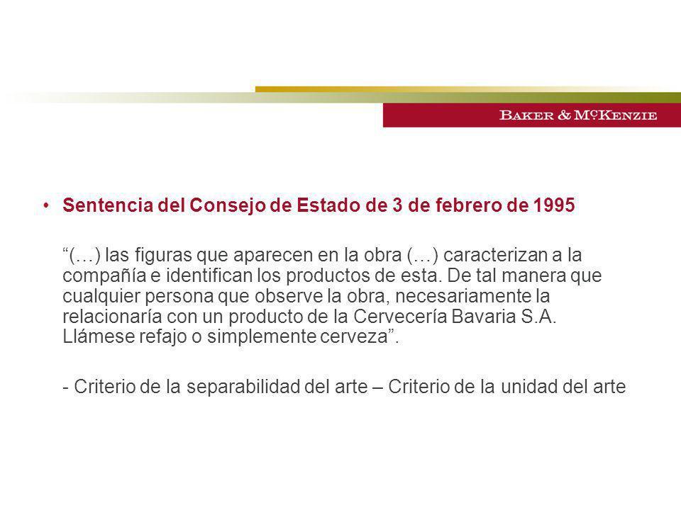 Sentencia del Consejo de Estado de 3 de febrero de 1995 (…) las figuras que aparecen en la obra (…) caracterizan a la compañía e identifican los produ