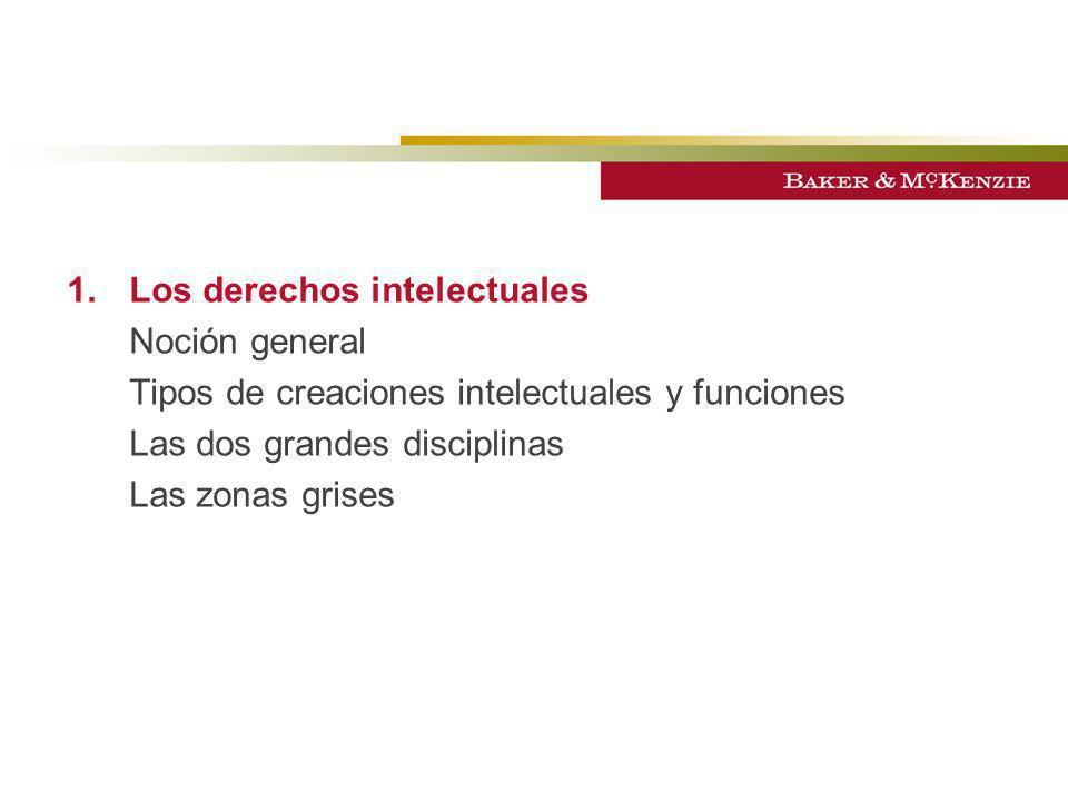1.Los derechos intelectuales Noción general Tipos de creaciones intelectuales y funciones Las dos grandes disciplinas Las zonas grises