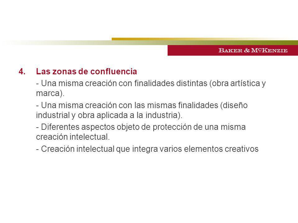 4.Las zonas de confluencia - Una misma creación con finalidades distintas (obra artística y marca). - Una misma creación con las mismas finalidades (d