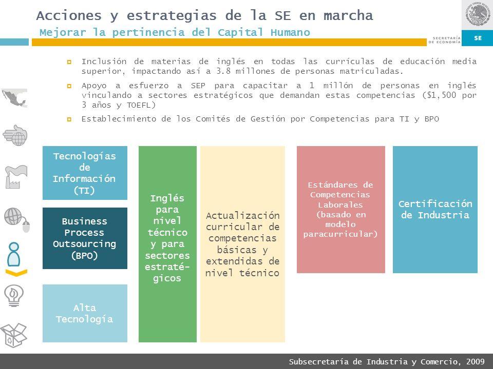 Subsecretaría de Industria y Comercio, 2009 Acciones y estrategias de la SE en marcha Mejorar la pertinencia del Capital Humano Tecnologías de Informa