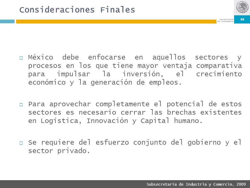 Subsecretaría de Industria y Comercio, 2009 Consideraciones Finales México debe enfocarse en aquellos sectores y procesos en los que tiene mayor venta