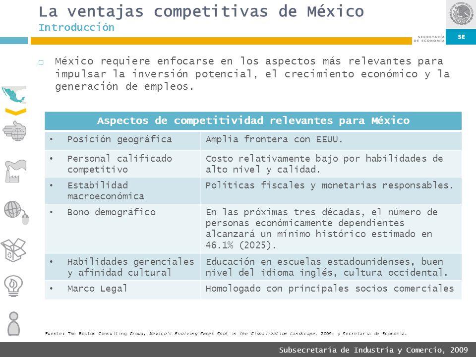Subsecretaría de Industria y Comercio, 2009 La ventajas competitivas de México México requiere enfocarse en los aspectos más relevantes para impulsar