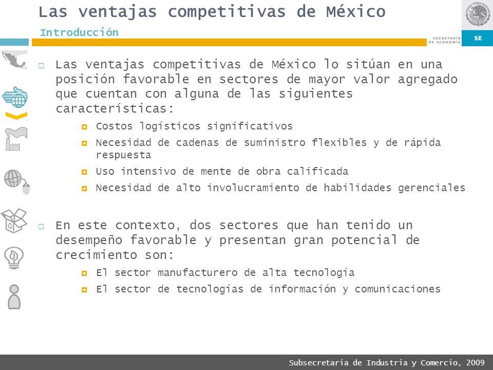 Subsecretaría de Industria y Comercio, 2009 Las ventajas competitivas de México Las ventajas competitivas de México lo sitúan en una posición favorabl