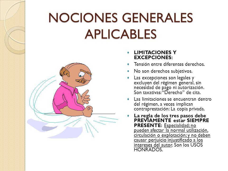 NOCIONES GENERALES APLICABLES LIMITACIONES Y EXCEPCIONES: Tensión entre diferentes derechos. No son derechos subjetivos. Las excepciones son legales y