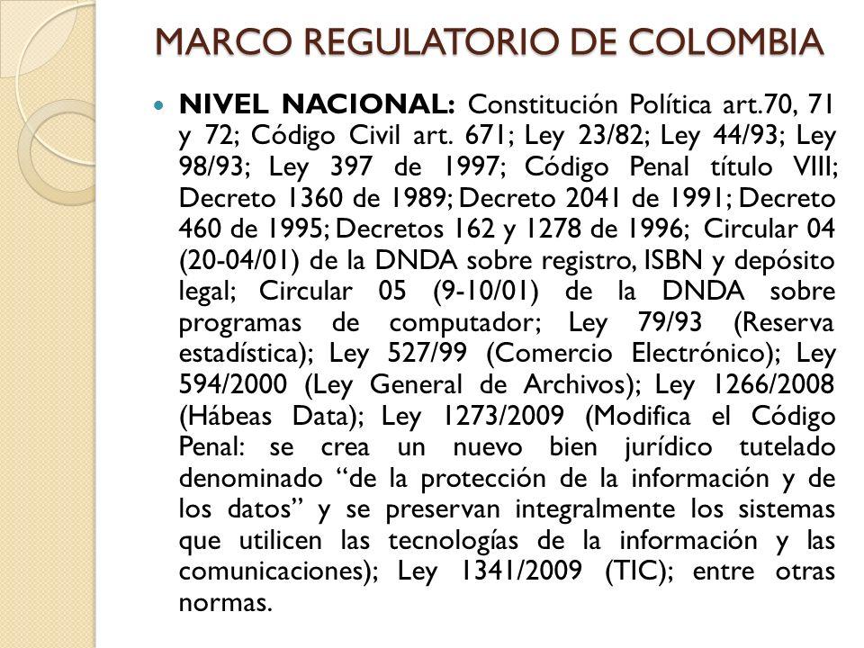 MARCO REGULATORIO DE COLOMBIA NIVEL NACIONAL: Constitución Política art.70, 71 y 72; Código Civil art. 671; Ley 23/82; Ley 44/93; Ley 98/93; Ley 397 d