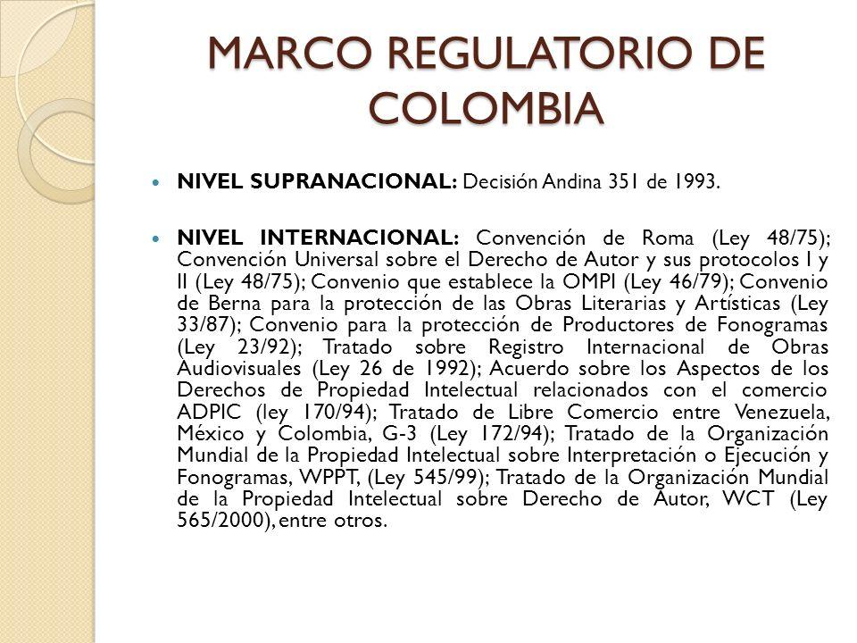 MARCO REGULATORIO DE COLOMBIA NIVEL SUPRANACIONAL: Decisión Andina 351 de 1993. NIVEL INTERNACIONAL: Convención de Roma (Ley 48/75); Convención Univer