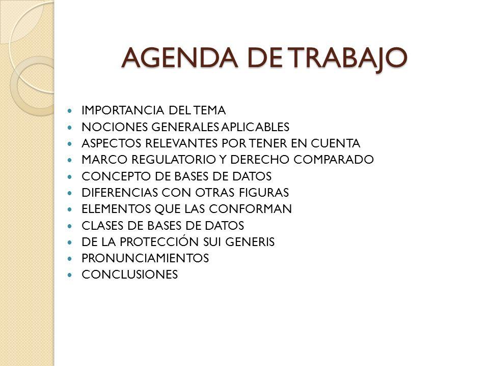 AGENDA DE TRABAJO IMPORTANCIA DEL TEMA NOCIONES GENERALES APLICABLES ASPECTOS RELEVANTES POR TENER EN CUENTA MARCO REGULATORIO Y DERECHO COMPARADO CON