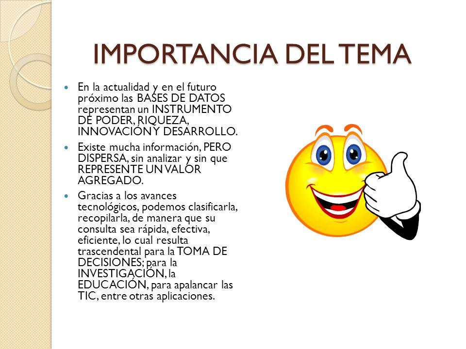 IMPORTANCIA DEL TEMA En la actualidad y en el futuro próximo las BASES DE DATOS representan un INSTRUMENTO DE PODER, RIQUEZA, INNOVACIÓN Y DESARROLLO.