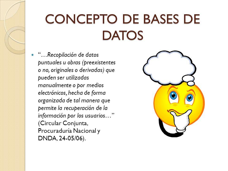 CONCEPTO DE BASES DE DATOS …Recopilación de datos puntuales u obras (preexistentes o no, originales o derivadas) que pueden ser utilizadas manualmente