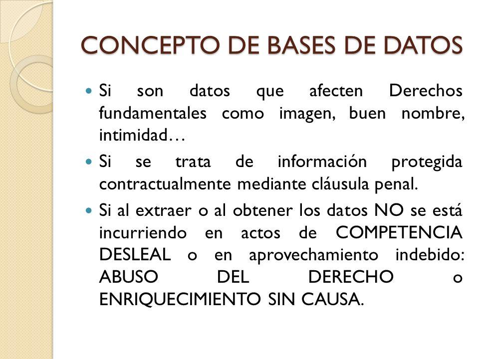 CONCEPTO DE BASES DE DATOS Si son datos que afecten Derechos fundamentales como imagen, buen nombre, intimidad… Si se trata de información protegida c
