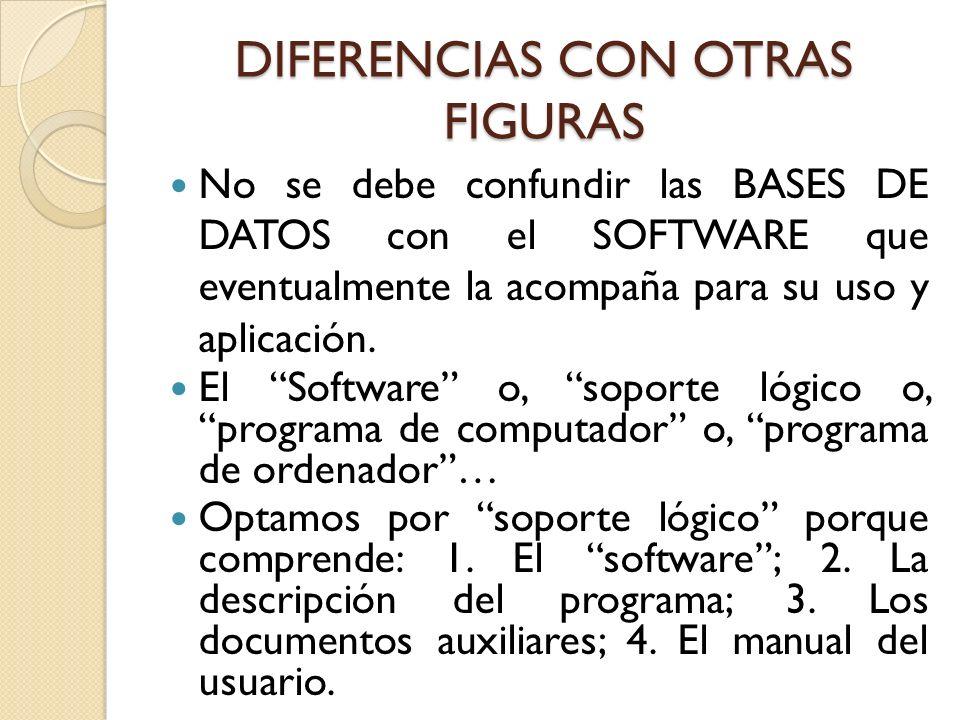 DIFERENCIAS CON OTRAS FIGURAS No se debe confundir las BASES DE DATOS con el SOFTWARE que eventualmente la acompaña para su uso y aplicación. El Softw