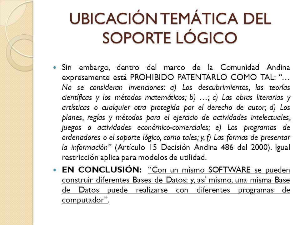 UBICACIÓN TEMÁTICA DEL SOPORTE LÓGICO Sin embargo, dentro del marco de la Comunidad Andina expresamente está PROHIBIDO PATENTARLO COMO TAL: … No se co