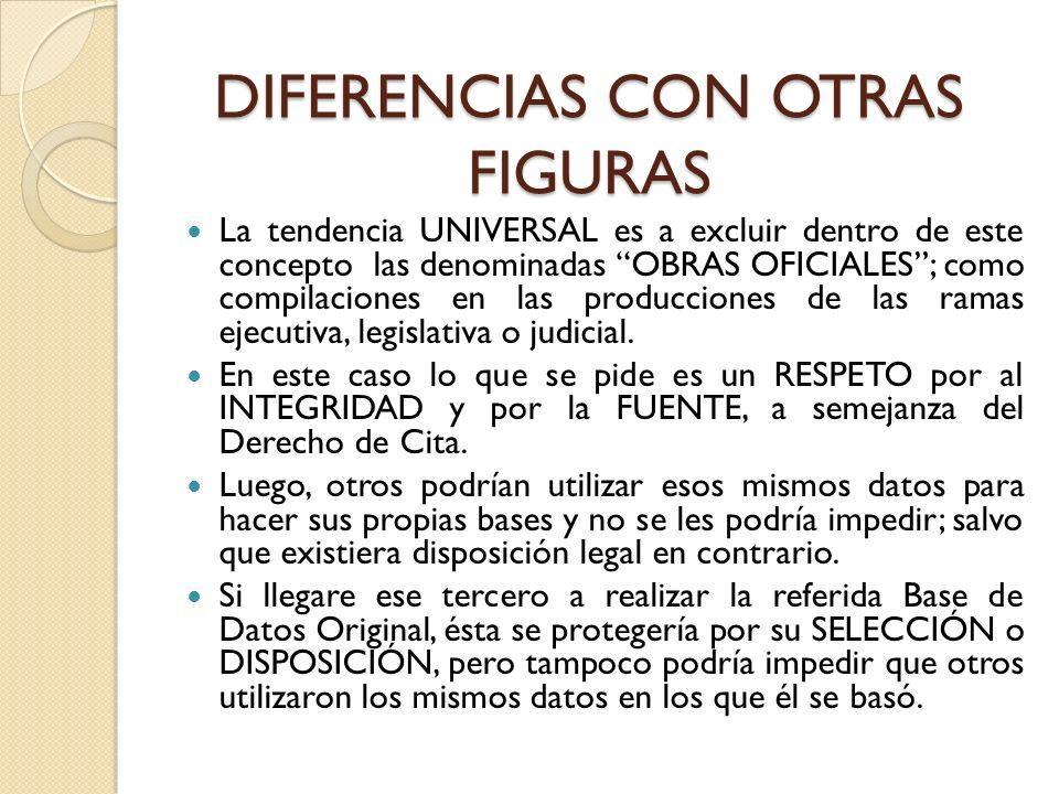 DIFERENCIAS CON OTRAS FIGURAS La tendencia UNIVERSAL es a excluir dentro de este concepto las denominadas OBRAS OFICIALES; como compilaciones en las p