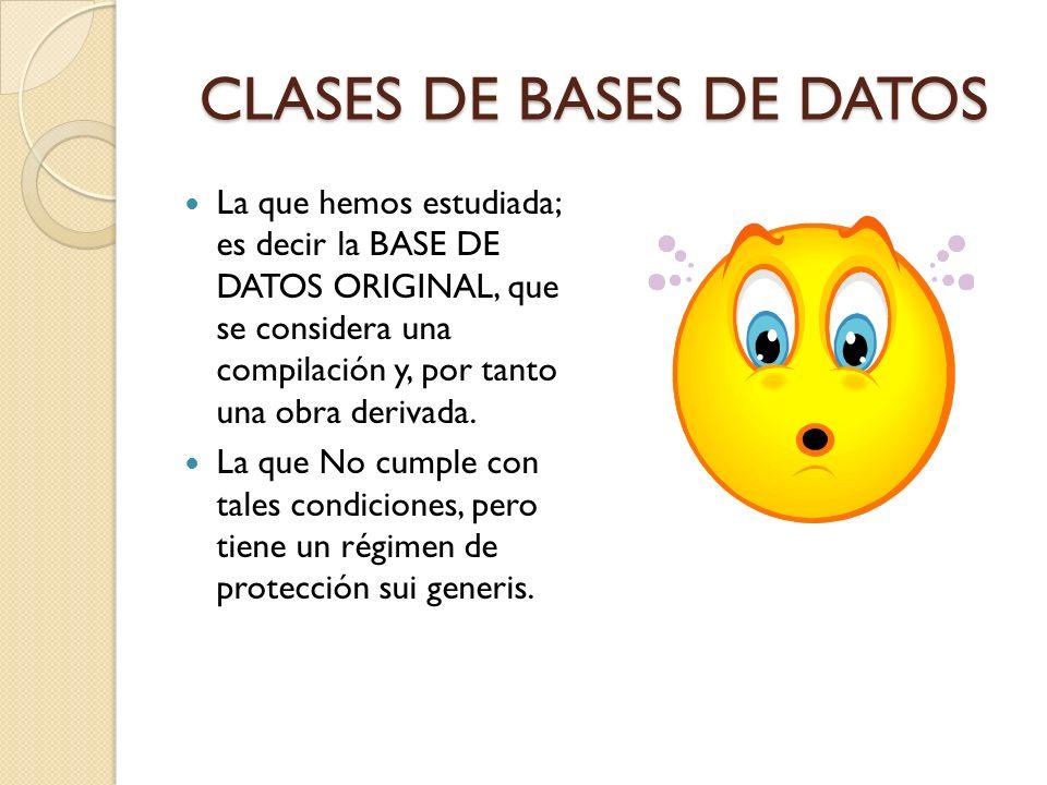 CLASES DE BASES DE DATOS La que hemos estudiada; es decir la BASE DE DATOS ORIGINAL, que se considera una compilación y, por tanto una obra derivada.