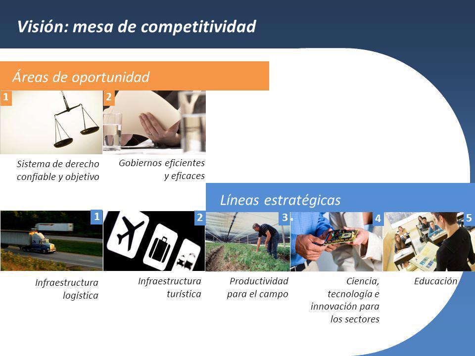 Visión: mesa de competitividad Sistema de derecho confiable y objetivo Gobiernos eficientes y eficaces Infraestructura logística Infraestructura turís