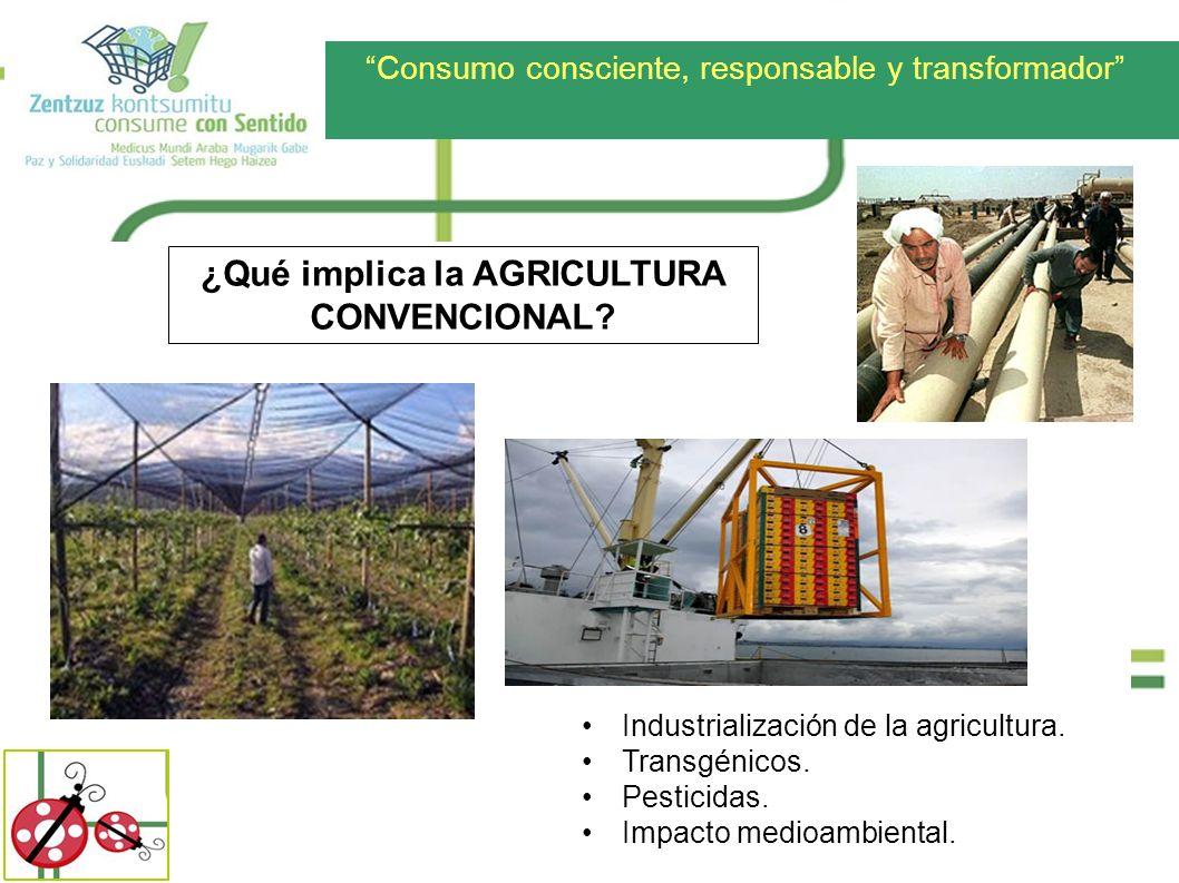 Consumo consciente, responsable y transformador ¿Qué implica la AGRICULTURA CONVENCIONAL? Industrialización de la agricultura. Transgénicos. Pesticida