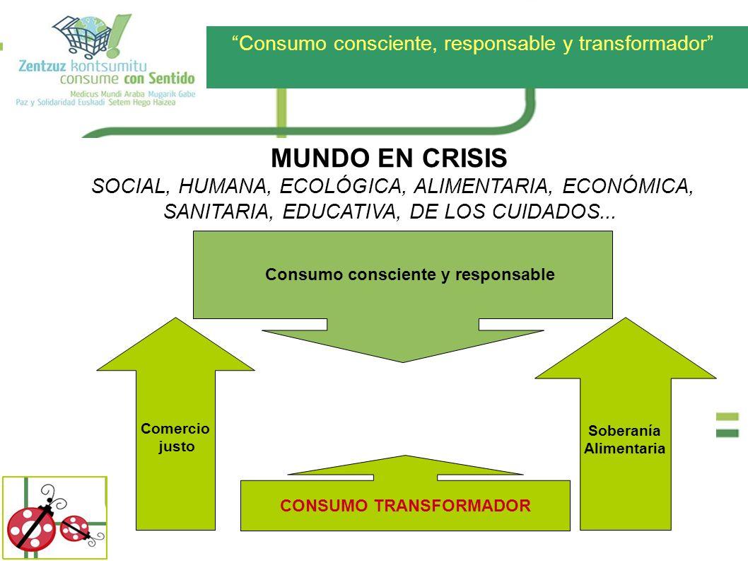 Consumo consciente, responsable y transformador MUNDO EN CRISIS SOCIAL, HUMANA, ECOLÓGICA, ALIMENTARIA, ECONÓMICA, SANITARIA, EDUCATIVA, DE LOS CUIDAD