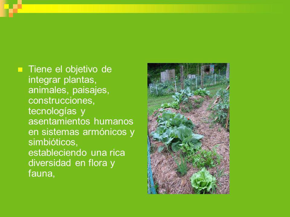Tiene el objetivo de integrar plantas, animales, paisajes, construcciones, tecnologías y asentamientos humanos en sistemas armónicos y simbióticos, es