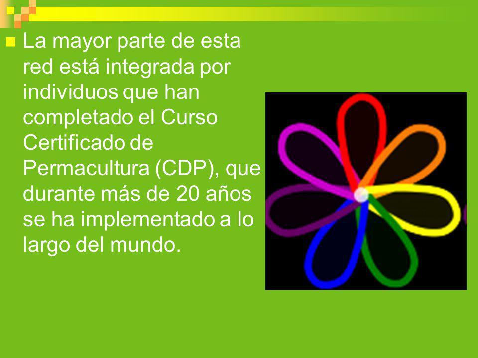 La mayor parte de esta red está integrada por individuos que han completado el Curso Certificado de Permacultura (CDP), que durante más de 20 años se