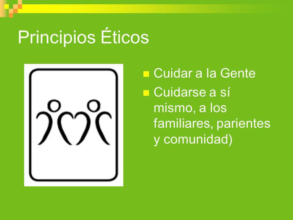 Principios Éticos Cuidar a la Gente Cuidarse a sí mismo, a los familiares, parientes y comunidad)