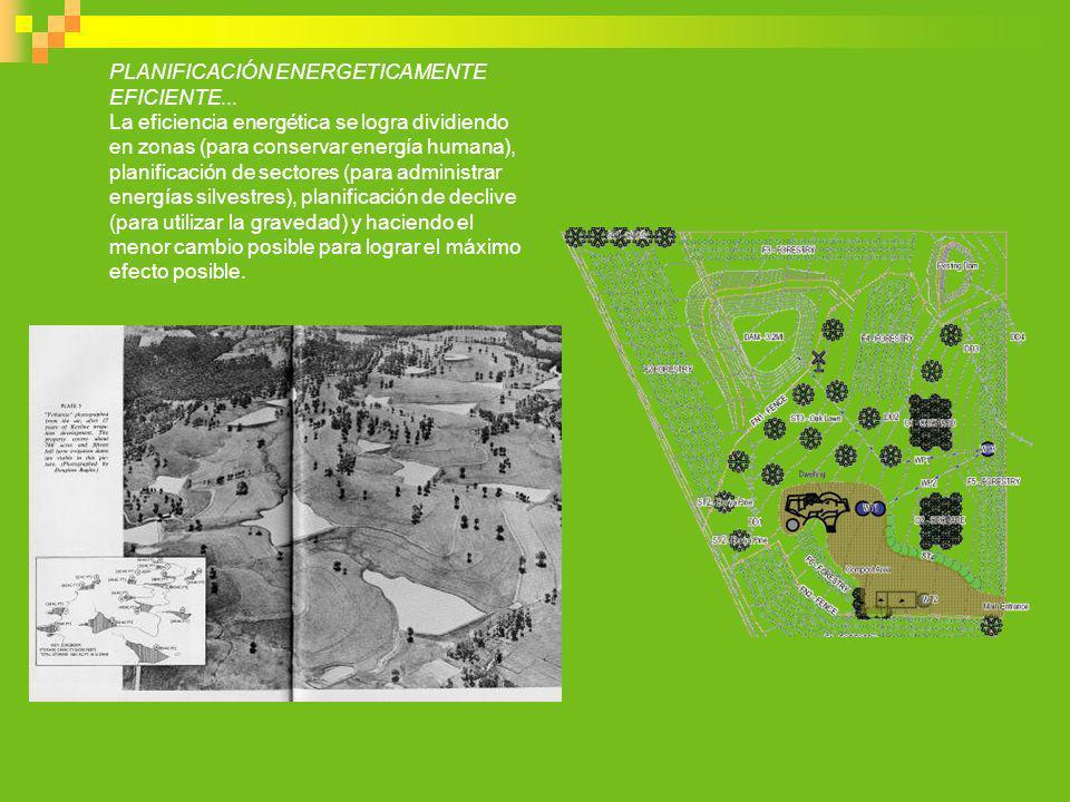 PLANIFICACIÓN ENERGETICAMENTE EFICIENTE... La eficiencia energética se logra dividiendo en zonas (para conservar energía humana), planificación de sec