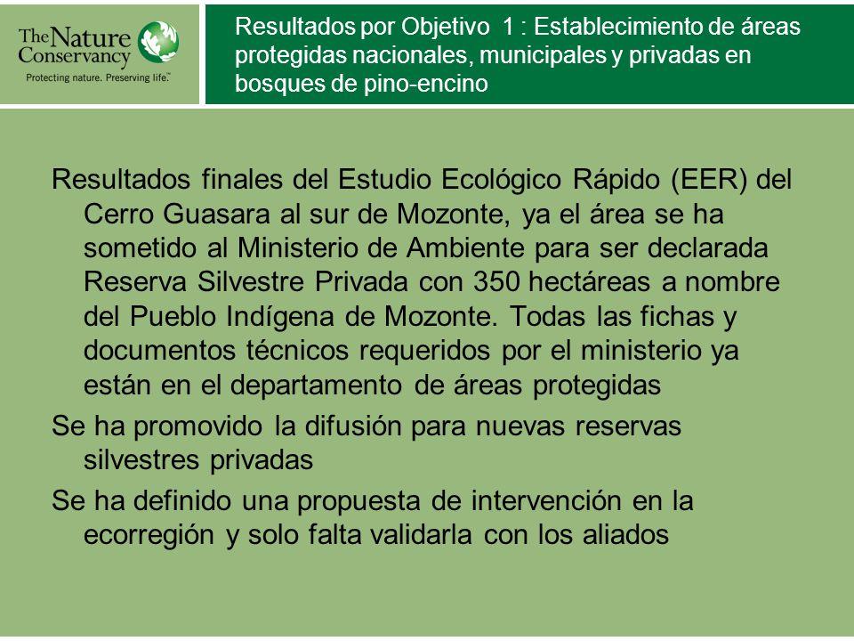 Resultados por Objetivo 1 : Establecimiento de áreas protegidas nacionales, municipales y privadas en bosques de pino-encino Resultados finales del Es
