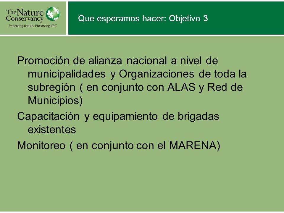 Que esperamos hacer: Objetivo 3 Promoción de alianza nacional a nivel de municipalidades y Organizaciones de toda la subregión ( en conjunto con ALAS