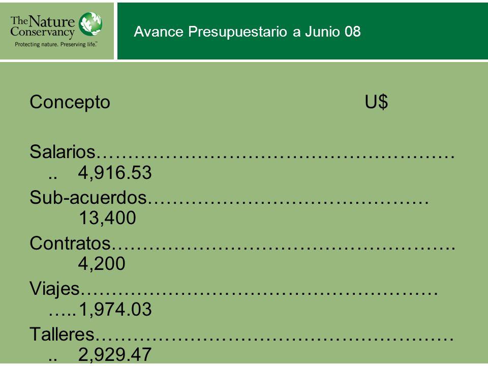 Avance Presupuestario a Junio 08 Concepto U$ Salarios…………………………………………………..4,916.53 Sub-acuerdos……………………………………… 13,400 Contratos………………………………………………. 4,2