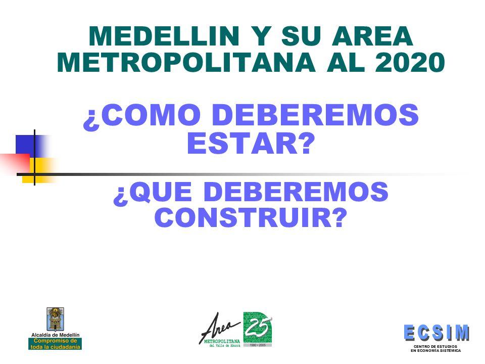 MEDELLIN Y SU AREA METROPOLITANA AL 2020 ¿COMO DEBEREMOS ESTAR.
