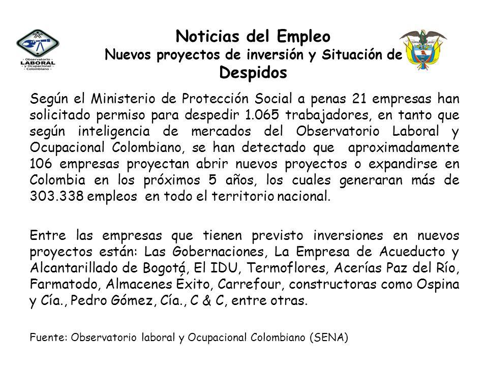 Según el Ministerio de Protección Social a penas 21 empresas han solicitado permiso para despedir 1.065 trabajadores, en tanto que según inteligencia