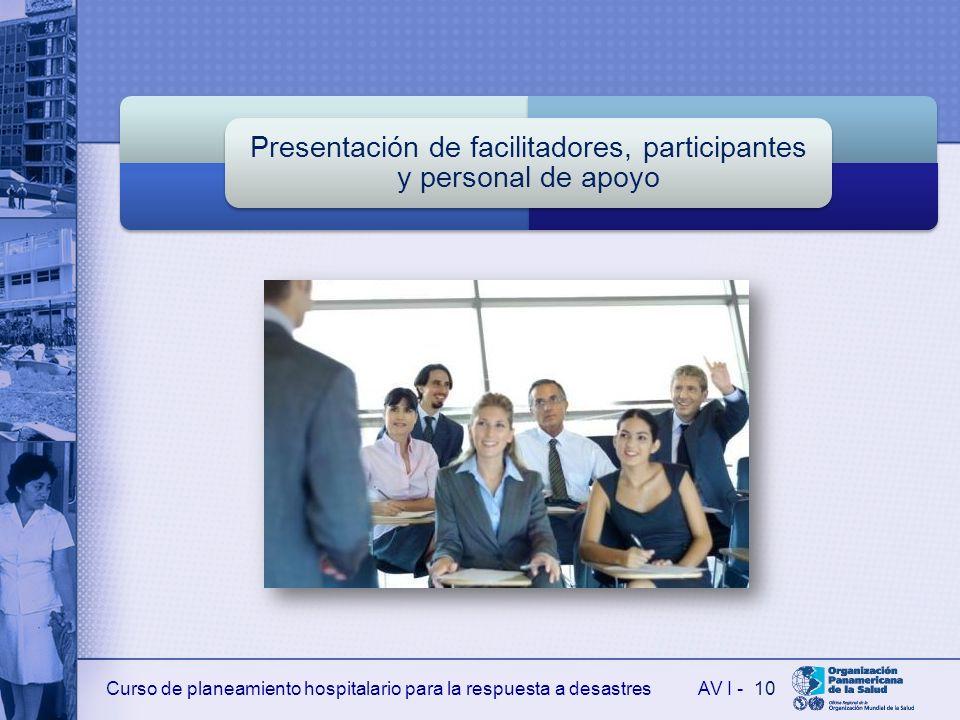 Curso de planeamiento hospitalario para la respuesta a desastresAV I - Presentación de facilitadores, participantes y personal de apoyo 10