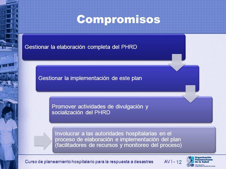 Curso de planeamiento hospitalario para la respuesta a desastresAV I - Compromisos Gestionar la elaboración completa del PHRDGestionar la implementaci