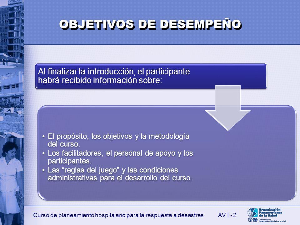 Curso de planeamiento hospitalario para la respuesta a desastresAV I - 2 Al finalizar la introducción, el participante habrá recibido información sobr