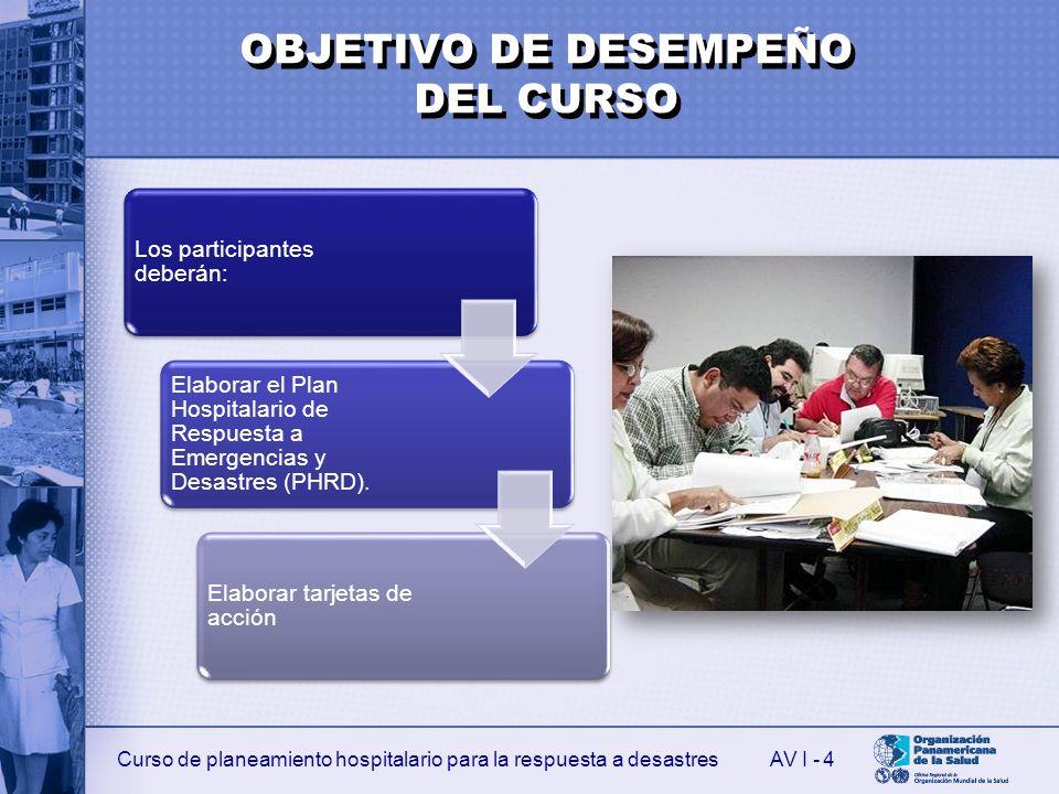 Curso de planeamiento hospitalario para la respuesta a desastresAV I - 4 Los participantes deberán: Elaborar el Plan Hospitalario de Respuesta a Emergencias y Desastres (PHRD).