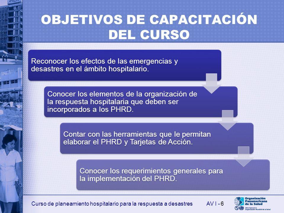 Curso de planeamiento hospitalario para la respuesta a desastresAV I - OBJETIVOS DE CAPACITACIÓN DEL CURSO Reconocer los efectos de las emergencias y desastres en el ámbito hospitalario.