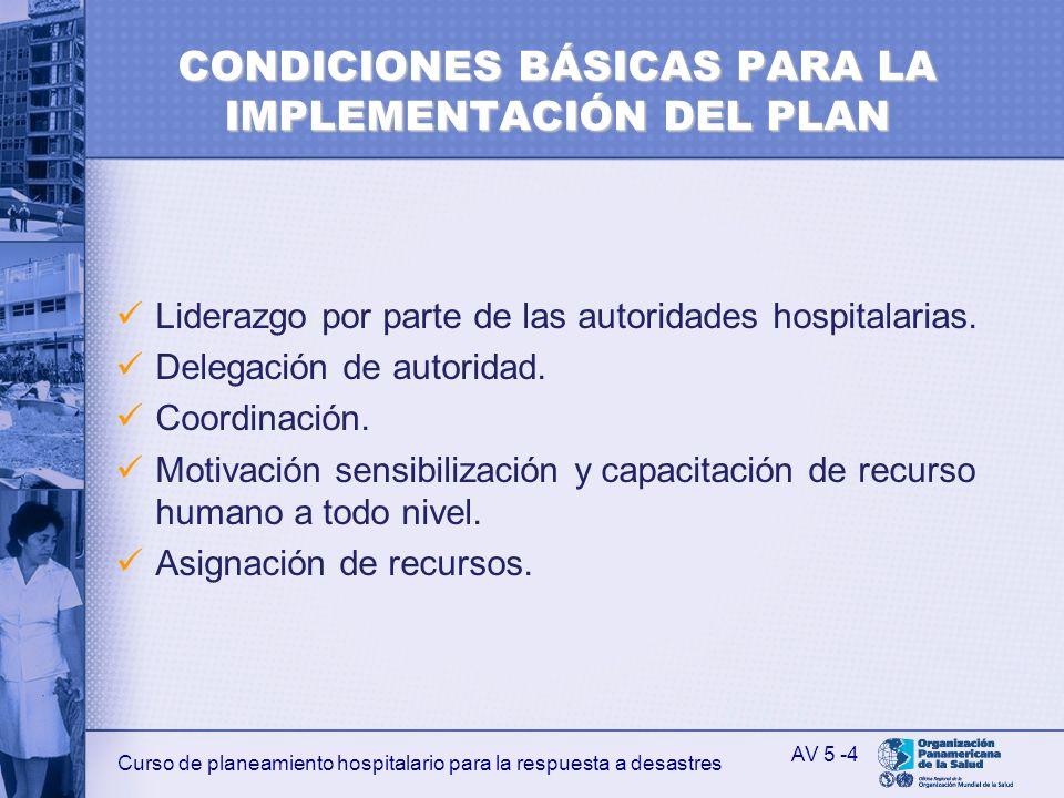 Curso de planeamiento hospitalario para la respuesta a desastres CONDICIONES BÁSICAS PARA LA IMPLEMENTACIÓN DEL PLAN Liderazgo por parte de las autori