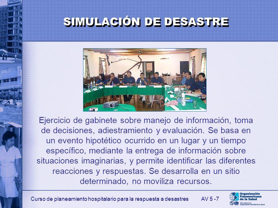 Curso de planeamiento hospitalario para la respuesta a desastres 7 Ejercicio de gabinete sobre manejo de información, toma de decisiones, adiestramien