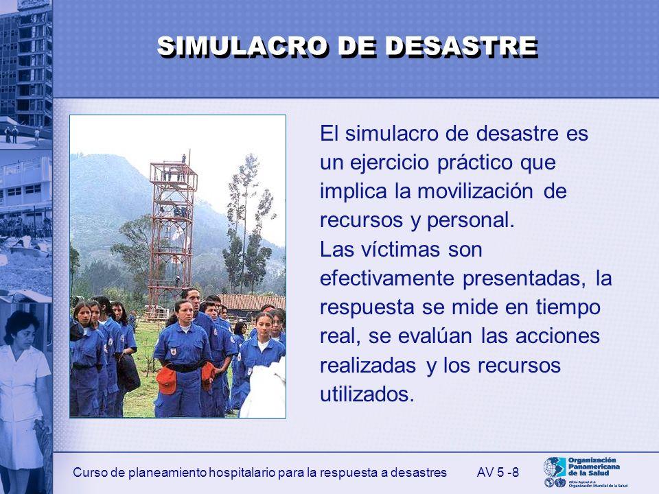 Curso de planeamiento hospitalario para la respuesta a desastres 8 El simulacro de desastre es un ejercicio práctico que implica la movilización de re