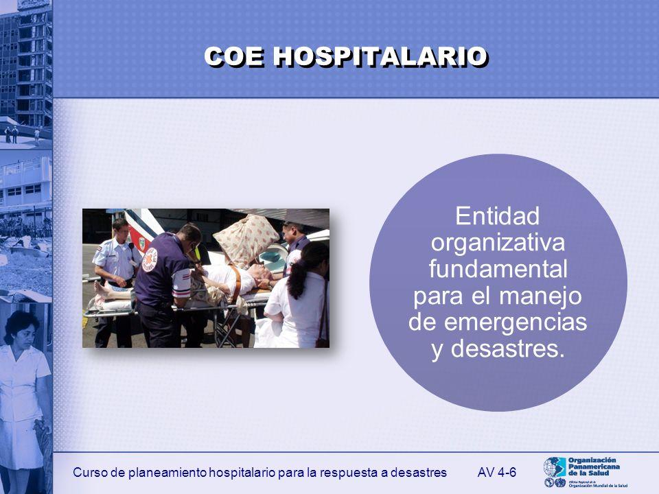 Curso de planeamiento hospitalario para la respuesta a desastres FUNCIONES PRINCIPALES DE RESPUESTA DEL COE HOSPITALARIO Mantener el control y la coordinación permanente durante las crisis hospitalarias.