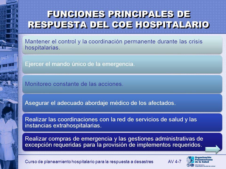 Curso de planeamiento hospitalario para la respuesta a desastres FUNCIONES PRINCIPALES DE RESPUESTA DEL COE HOSPITALARIO Asegurar la logística para el cumplimiento de los objetivos en el abordaje de la crisis.