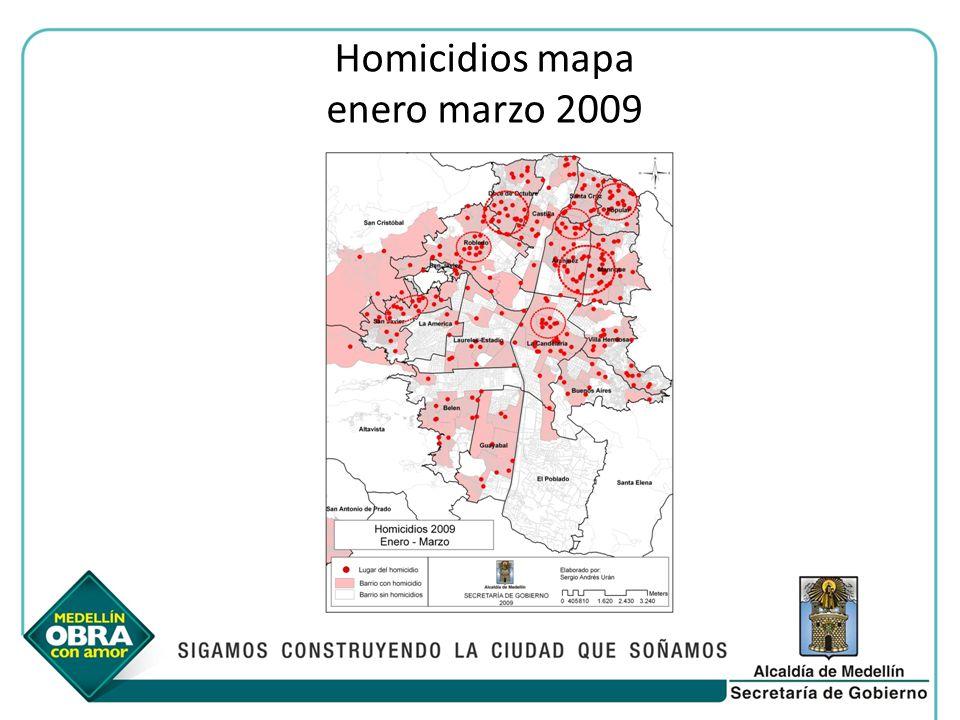 Homicidios mapa enero marzo 2009