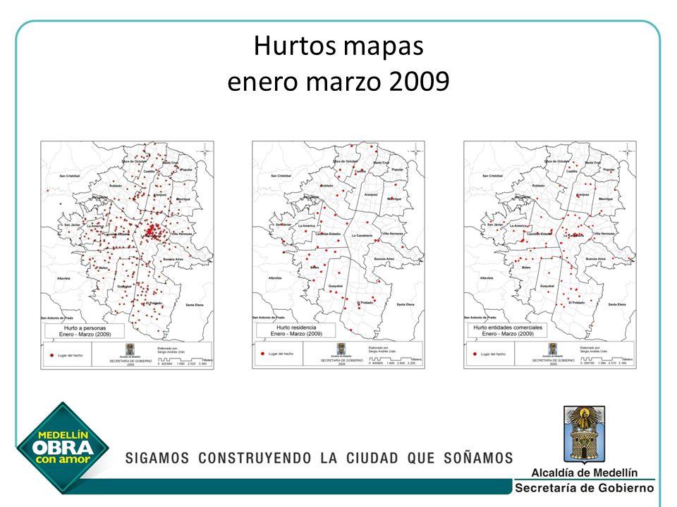 Hurtos mapas enero marzo 2009