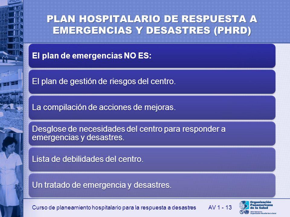 Curso de planeamiento hospitalario para la respuesta a desastres PLAN HOSPITALARIO DE RESPUESTA A EMERGENCIAS Y DESASTRES (PHRD) El plan de emergencia