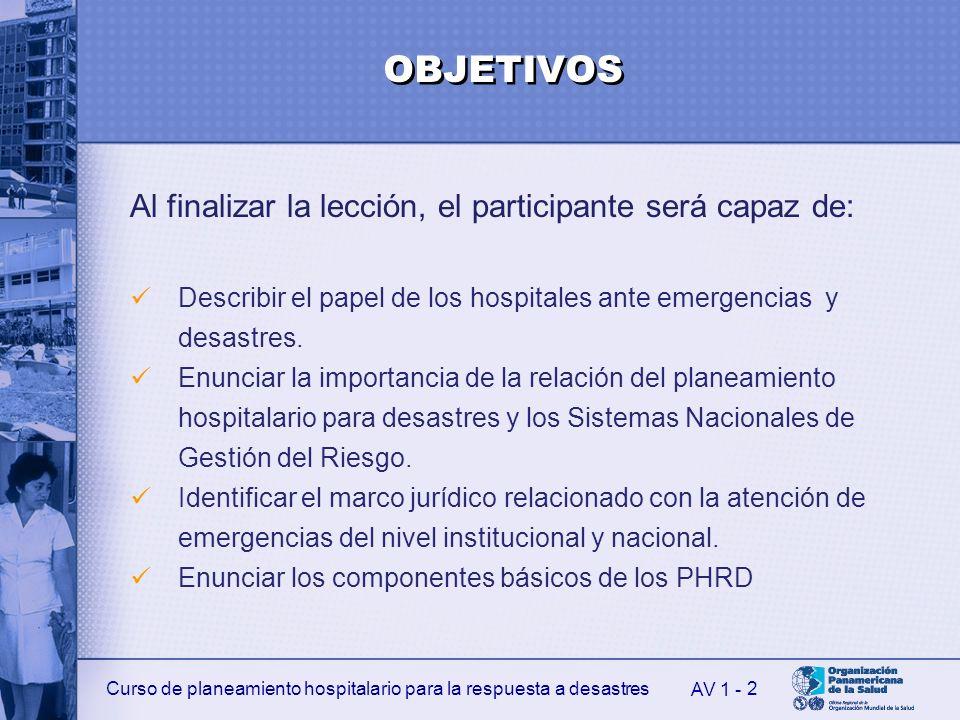 Curso de planeamiento hospitalario para la respuesta a desastres 2 AV 1 - OBJETIVOS Al finalizar la lección, el participante será capaz de: Describir