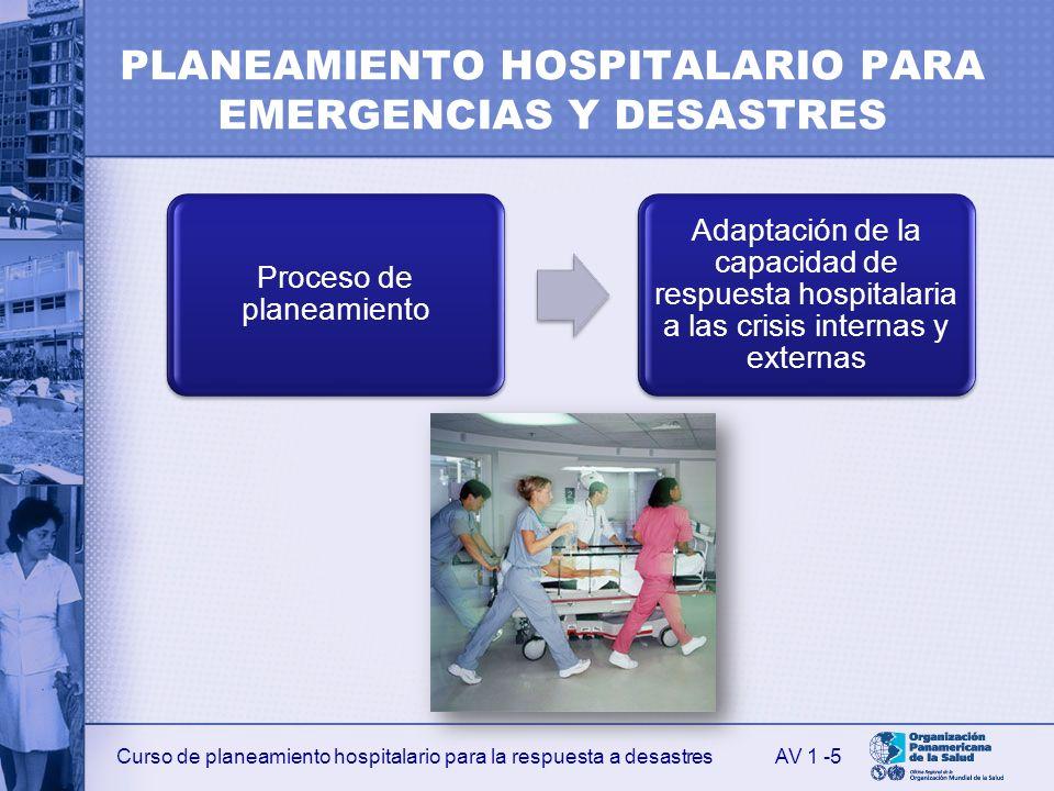 Curso de planeamiento hospitalario para la respuesta a desastres PLANEAMIENTO HOSPITALARIO PARA EMERGENCIAS Y DESASTRES Proceso de planeamiento Adapta
