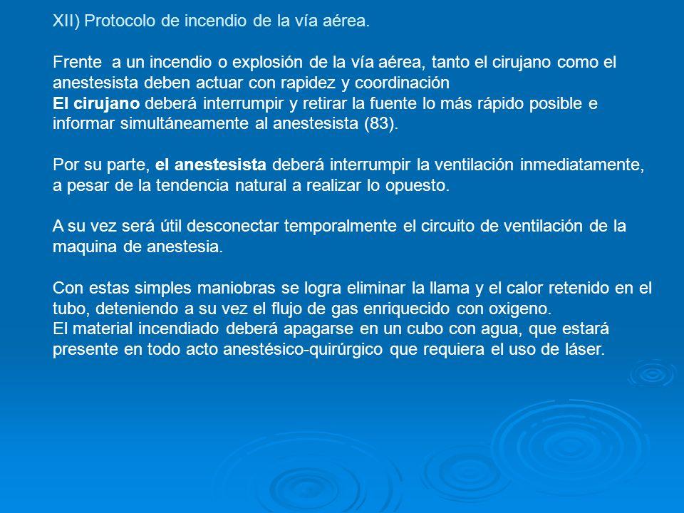 XII) Protocolo de incendio de la vía aérea. Frente a un incendio o explosión de la vía aérea, tanto el cirujano como el anestesista deben actuar con r