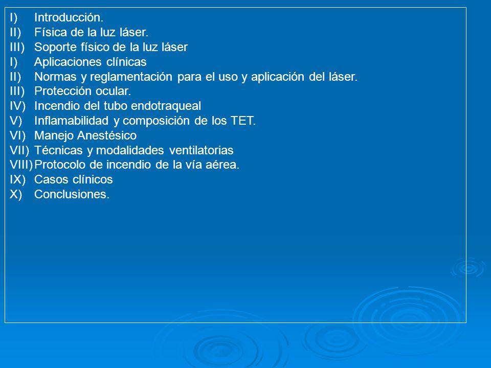 I)Introducción. II)Física de la luz láser. III)Soporte físico de la luz láser I)Aplicaciones clínicas II)Normas y reglamentación para el uso y aplicac