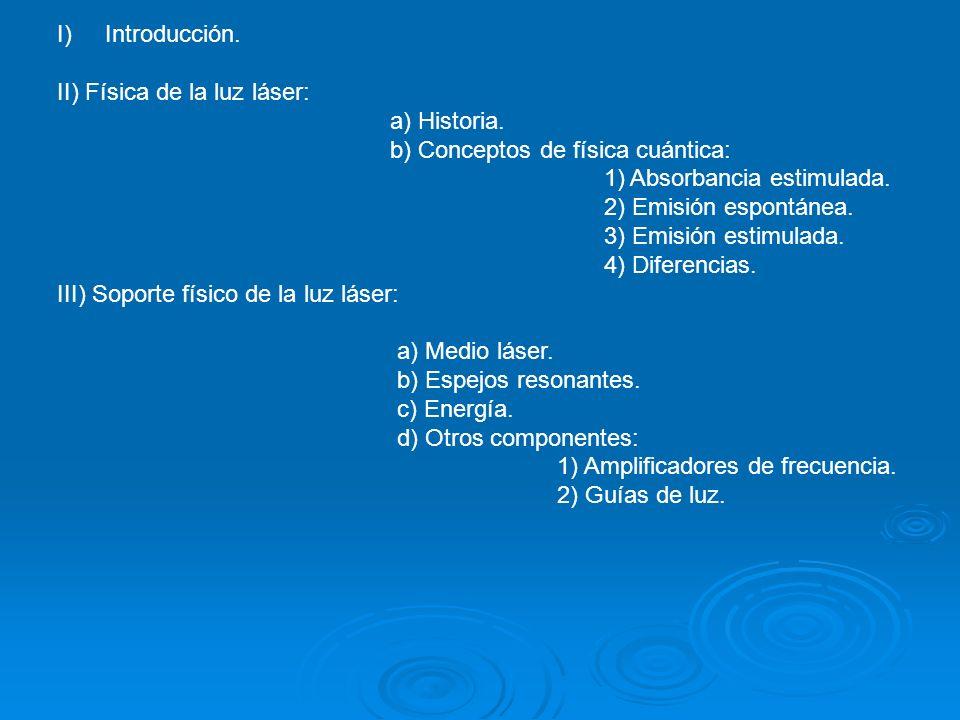 I)Introducción. II) Física de la luz láser: a) Historia. b) Conceptos de física cuántica: 1) Absorbancia estimulada. 2) Emisión espontánea. 3) Emisión