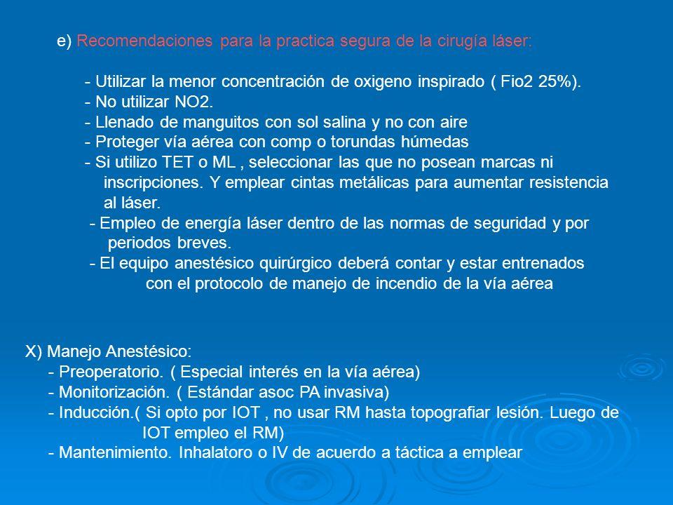 e) Recomendaciones para la practica segura de la cirugía láser: - Utilizar la menor concentración de oxigeno inspirado ( Fio2 25%). - No utilizar NO2.