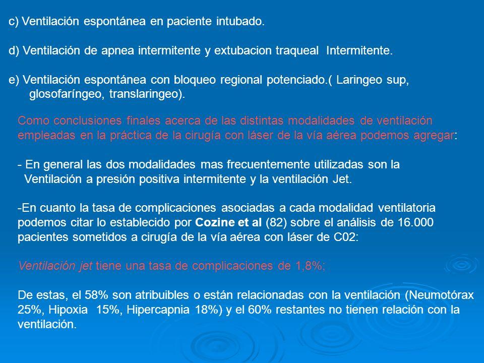 c) Ventilación espontánea en paciente intubado. d) Ventilación de apnea intermitente y extubacion traqueal Intermitente. e) Ventilación espontánea con